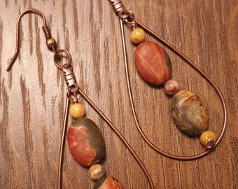 Picasso Jasper gemstone copper earrings
