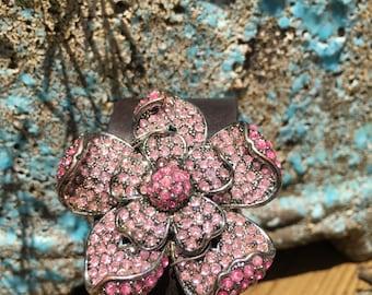 Vintage Pretty In Pink Rhinestone Brooch Cuff Bracelet, Leather Cuff Bracelets for Women, Jeweled Leather Cuff, Free Shipping