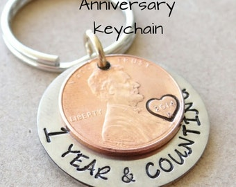 Custom Penny Keychain, Anniversary Keychain, Valentines gift, our first anniversary, 1 year and counting, gift for him, anniversary gift