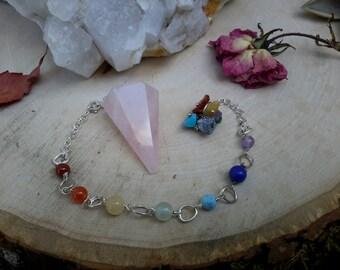 Rose Quartz Crystal Chakra Pendulum Metaphysical, Wiccan, Divination, Psychic, New Age, Altar