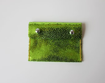 SALE!  Metallic Lime Green Pouch Purse Made From Italian Leather. Coin and card holder!