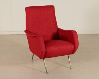 Mid-Century Italian Armchair Foam Padding, Fabric Upholstery, Brass Legs
