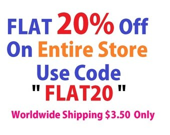 20 % Discount on Entire Shop, Shipping Worldwide in just 3.50.