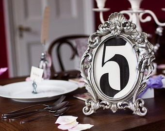 Baroque Luxury Rococo Wedding Table Number Frame - Ornate Antiqued Silver - Cherubs and Scrolls - Photo Frame