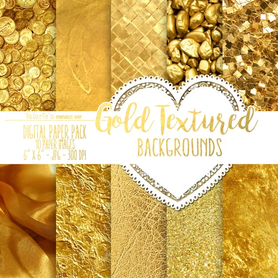 Gold Textured Digital Paper Pack Gold Backgrounds Gold Glitter Foil Gold Tectured Digital Paper Rich Golden Paper Gold Instant Download 6x6