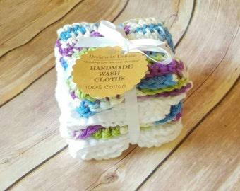 Small crochet washcloths - baby washcloths - colorful crochet  washcloths - white crochet washcloths - baby shower gift - washcloth bundle