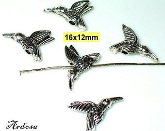 5 beads 16x12mm silver Hummingbird (K103. 16)