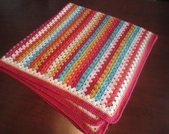 Granny Stripe Blanket with lovely colors (crochet)