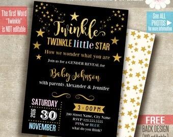 Twinkle, twinkle little star invitation, Printable Gender Reveal invitation, Instant Download self Editable PDF File A201