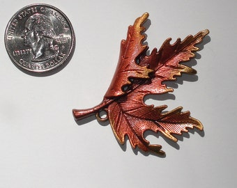 Hand Painted Maple Leaf Pendant Charm Antique Bronze Metal