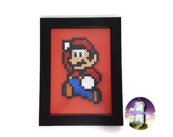 Super Mario Jump Picture Frame Video Game [Pixel Art Hama Beads]