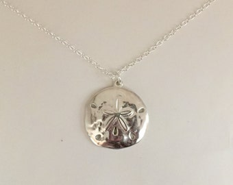 Sterling Silver Sand Dollar Necklace-Sand Dollar Necklace-Silver Sand Dollar-Sand Dollar Pendant-Sand Dollar Necklace Silver-Sterling Silver