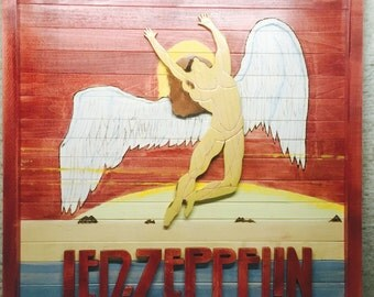 RECLAIMED WV HARDWOOD, led Zeppelin handmade sign, swan song angel,primitive decoration,