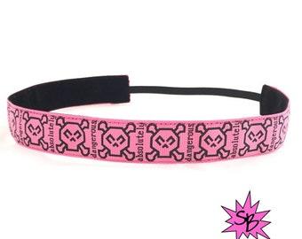 Pink Skulls Headband | Running Headband | Skull Headband | Pink Headband | Fashion Headband | Funky Headband | Punk Headband |
