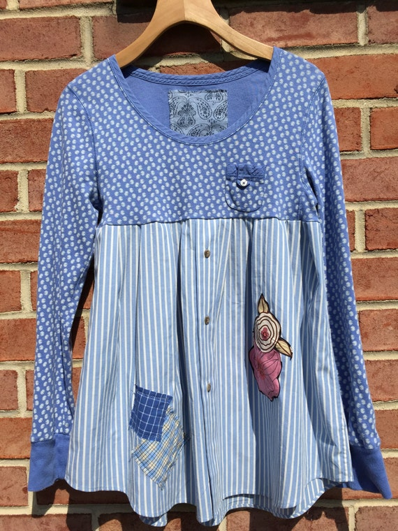 Sale tunic upcycled clothing shabby chic blue floral - Diy ideas repurposing old clothing ...