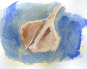 Original Watercolor Painting of Garlic