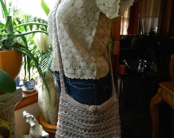 Oatmeal Color Crochet Pop Top Shoulder Bag