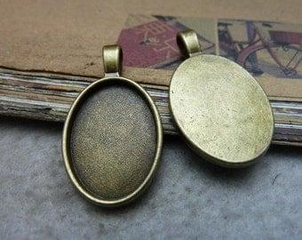 10 Oval Pendant Trays Antique Bronze Tone Bezel Setting Fitting 18x25mm Cabochon (YT7712)