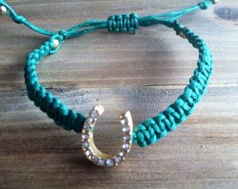 Adjustable Woven Bracelet - Stackable Bracelet - Adjustable Bracelet - Pave Horseshoe Bracelet - Braided Bracelet - Friendship Bracelet