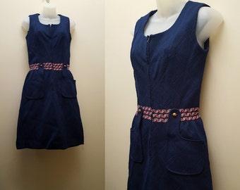 Vintage 1960s/70s Dress // 60s/70s Navy Jumper Dress Small Medium