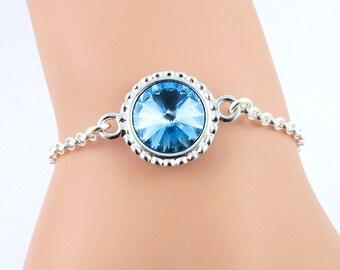 Aquamarine Bracelet, March Birthstone Bracelet, Blue Crystal Bracelet, Aqua Bracelet, Aquamarine Jewelry, Swarovski Crystal Birthstones