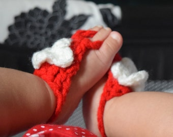 Mommy and Me Crochet Red Barefoot Sandals
