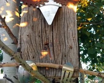 Upcycled Metal and Barn Wood Owl Art