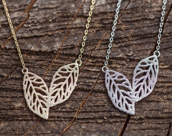 Leaf Necklace, Double Leaf Necklace, Gold & Silver Leaf Necklace, Gold Necklace, Silver Necklace