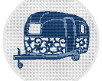 Camper Cross stitch pattern Vintage Travel Trailer Cross Stitch Pattern Instant Download Adventure Road trip Camping X014