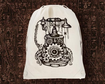 steampunk telephone machine cotton screen printed backpack bag, gym bag