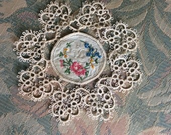 Antique tatted and petite point doillie