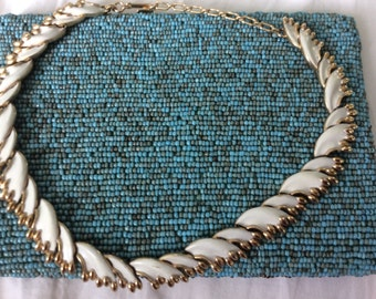 Vintage Trifari Necklace, gold and white enamel