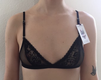 Black mesh and lace bralette