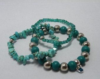 Set of three bracelets turquoise