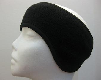 Women Black Soft Fleece Stretch Ski Headband Ear Warmer Warp-Winter Head band