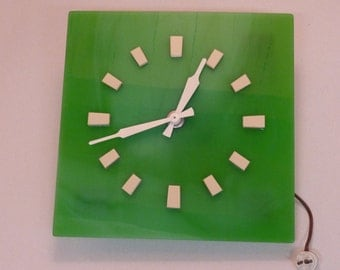Art Deco Wall Clock - Green Glass Art Deco Wall Clock - Collection Only (stock#6480)