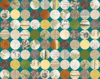 """Riley Blake designs  Bo Bunny """"Trail Mix"""" Hollow Teal Cotton Fabric"""