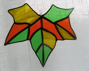 Maple Leaf Ornament Stained Glass Window Decoration Art Home Gift