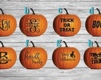 Monogram Pumpkin Decals,  Jack-O-Lantern Decals, DIY Pumpkin Vinyl, Halloween decals