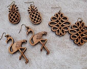 Earrings wooden flamingo, baroque, pineapple