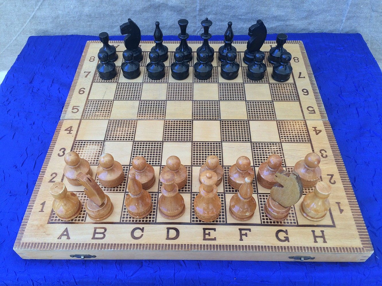 Vintage Chess Set Chess Game Wooden Chess Game Board Game