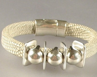 Lizard Look Leather Bracelet