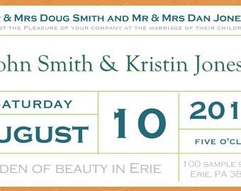 Ticket Style Wedding Invitation