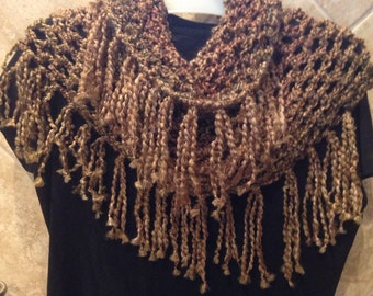 Fringed cowl scarf