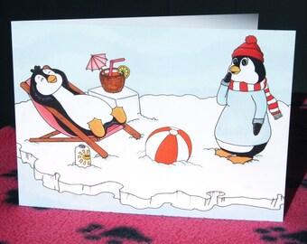 Penguin card, penguin birthday card, funny penguin, A5, animal birthday card, cute cartoon birthday