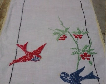 Vintage Hand Embroidered Table Runner...Birds/Flowers