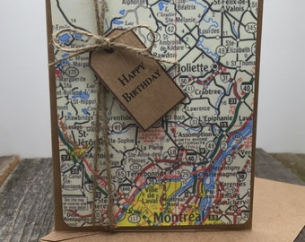 Happy Birthday Card, Happy Birthday Map Card, Happy Birthday Traveler Card, Happy Birthday for a Traveler Card, Birthday Card