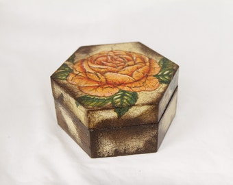 Decoupaged Rose Print Wooden Box