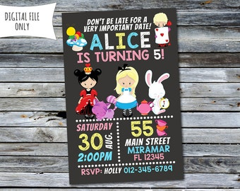 Wonderland Invitation / Alice In Wonderland Birthday Invitation (Personalized) Printable Digital File