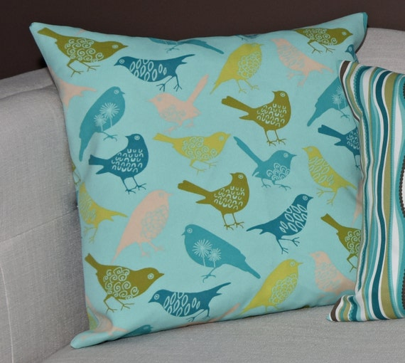 Outdoor Decorative Pillow Cover Seafoam Green Blue Yellow